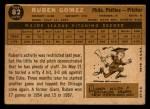 1960 Topps #82   Ruben Gomez Back Thumbnail