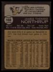 1973 Topps #168   Jim Northrup Back Thumbnail