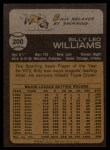 1973 Topps #200  Billy Williams  Back Thumbnail