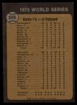 1973 Topps #205  1972 World Series - Game #3 - Reds Win Squeeker  -  Tony Perez / Darrel Chaney / Gene Tenace Back Thumbnail