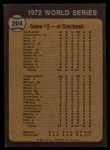 1973 Topps #204  1972 World Series - Game #2 - A's Make it Two Straight Johnny Bench / Tony Perez / Mike Hegan / Dick Green Back Thumbnail