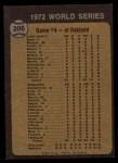1973 Topps #206   -  Gene Tenace 1972 World Series - Game #4 - Tenace Singles in Ninth Back Thumbnail