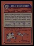 1973 Topps #322  Dan Dierdorf  Back Thumbnail