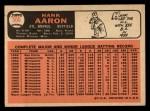 1966 Topps #500   Hank Aaron Back Thumbnail