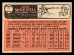 1966 Topps #470   Sam McDowell Back Thumbnail