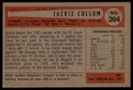 1954 Bowman #204  Jack Collum  Back Thumbnail