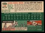 1954 Topps #13   Billy Martin Back Thumbnail