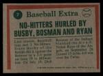 1975 Topps #7  No-Hitters Hurled  -  Steve Busby / Dick Bosman / Nolan Ryan Back Thumbnail