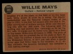 1962 Topps #395  All-Star  -  Willie Mays Back Thumbnail