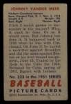1951 Bowman #223   Johnny Vander Meer Back Thumbnail