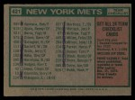 1975 Topps #421  Mets Team Checklist  -  Yogi Berra Back Thumbnail