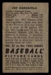 1952 Bowman #27   Joe Garagiola Back Thumbnail
