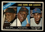 1966 Topps #217  1965 NL HR Leaders  -  Willie Mays / Willie McCovey / Billy Williams Front Thumbnail