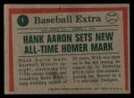 1975 Topps #1   -  Hank Aaron Aaron Sets Homer Mark Back Thumbnail