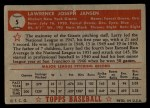 1952 Topps #5 RED Larry Jansen  Back Thumbnail