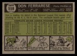 1961 Topps #558   Don Ferrarese Back Thumbnail