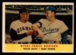 1958 Topps #436  Rival Fence Busters  -  Duke Snider / Willie Mays Front Thumbnail