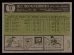 1961 Topps #58   Joe Schaffernoth Back Thumbnail