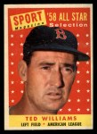 1958 Topps #485  All-Star  -  Ted Williams Front Thumbnail