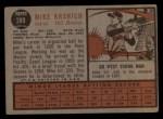 1962 Topps #289  Mike Krsnich  Back Thumbnail