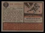 1962 Topps #340   Don Drysdale Back Thumbnail