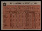 1962 Topps #132 NOR Angels Team  Back Thumbnail