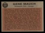 1962 Topps #374   Gene Mauch Back Thumbnail
