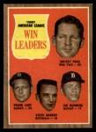 1962 Topps #57  1961 AL Win Leaders  -  Whitey Ford / Frank Lary / Steve Barber / Jim Bunning Front Thumbnail