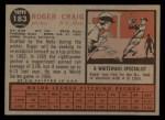1962 Topps #183 A Roger Craig  Back Thumbnail