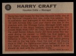 1962 Topps #12   Harry Craft Back Thumbnail