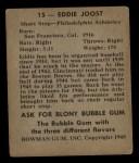 1948 Bowman #15   Eddie Joost Back Thumbnail