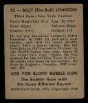 1948 Bowman #33   Billy Johnson Back Thumbnail