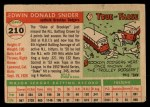 1955 Topps #210  Duke Snider  Back Thumbnail