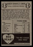 1954 Red Heart #16  Bob Lemon  Back Thumbnail