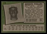 1971 Topps #418   Adolfo Phillips Back Thumbnail