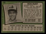 1971 Topps #578   Ron Hunt Back Thumbnail