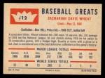 1960 Fleer #12   Zack Wheat Back Thumbnail