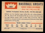 1960 Fleer #65  Harry Heilman  Back Thumbnail