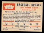 1960 Fleer #70  Bobo Newsom  Back Thumbnail