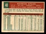 1959 Topps #40 COR  Warren Spahn Back Thumbnail