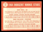 1964 Topps #14   -  Dick Nen / Nick Willhite Dodgers Rookies Back Thumbnail