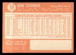 1964 Topps #308  Gene Stephens  Back Thumbnail