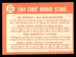 1964 Topps #408  Cubs Rookies  -  Jim Stewart / Fred Burdette Back Thumbnail