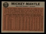 1962 Topps #318  The Switch Hitter Connects  -  Mickey Mantle Back Thumbnail