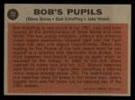 1962 Topps #72   -  Steve Boros / Bob Scheffing / Jake Wood Bob's Pupils Back Thumbnail