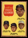 1962 Topps #60  NL Strikeout Leaders  -  Sandy Koufax / Stan Williams / Don Drysdale / Jim O'Toole Front Thumbnail
