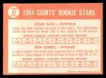 1964 Topps #47   Giants Rookie Stars  -  Jesus Alou / Ron Herbel Back Thumbnail