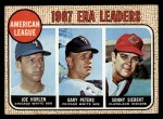1968 Topps #8  1967 AL ERA Leaders  -  Joe Horlen / Gary Peters / Sonny Siebert Front Thumbnail