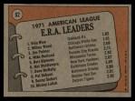 1972 Topps #92  1971 AL ERA Leaders    -  Vida Blue / Jim Palmer / Wilbur Wood Back Thumbnail