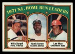 1972 Topps #89  1971 NL Home Run Leaders    -  Hank Aaron / Lee May / WIllie Stargell Front Thumbnail